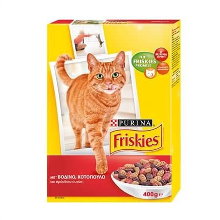 Ξηρά τροφή FRISKIES για γάτες βοδινό & κοτόπουλο 400gr