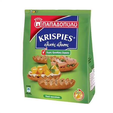 Παξιμάδια ΠΑΠΑΔΟΠΟΥΛΟΥ Krispies χωρίς προσθήκη ζάχαρης 200gr