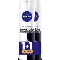 Αποσμητικό spray NIVEA black & white clear invisible 150ml (1+1 δώρο)
