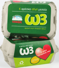 Αυγά ΤΣΑΚΙΡΗΣ ωμέγα3 Μ(53-63gr) 6τμχ