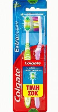 Οδοντόβουρτσα COLGATE extra clean 2τμχ