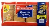 Φρυγανίες ΠΑΠΑΔΟΠΟΥΛΟΥ σταρένιες 510gr (3+1δώρο) (-0,25€)