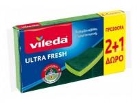Σφουγγαράκι κουζίνας VILEDA Ultra Fresh 3τμχ (2+1 δώρο)