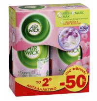 Ανταλ/κό αρωματικό χώρου AIRWICK freshmatic magnolia cherry blossom 2x250ml (το 2ο -50%)