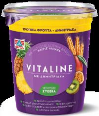 Eπιδόρπιο γιαουρτιού ΔΕΛΤΑ Vitaline 0% με δημητριακά & τροπικά φρούτα 380gr